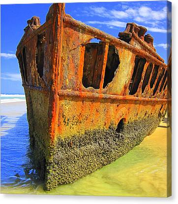 Canvas Print featuring the photograph Maheno Shipwreck by Ramona Johnston