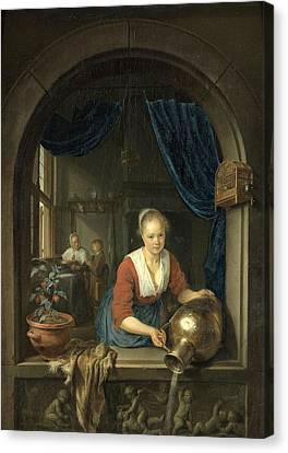 Maid At The Window Canvas Print by Gerrit Dou