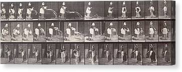 Maid Throwing A Bucket Of Water Canvas Print by Eadweard Muybridge
