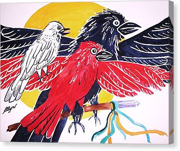 Raven As Maiden Mother And Crone Canvas Print by Ellen Levinson