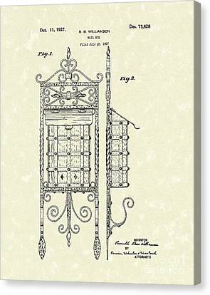 Mail Box 1927 Patent Art Canvas Print by Prior Art Design