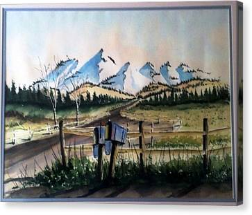 Canvas Print featuring the painting Mail Boxes Sold by Richard Benson