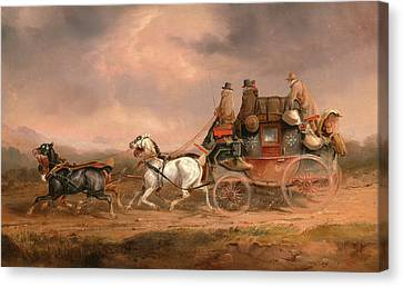 Mail Coaches On The Road The Louth-london Royal Mail Canvas Print by Litz Collection