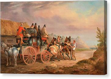 Mail Coaches On The Road The `quicksilver Devonport-london Canvas Print by Litz Collection