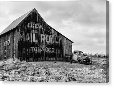 Mail Pouch Tobacco Barn In Black And White Canvas Print