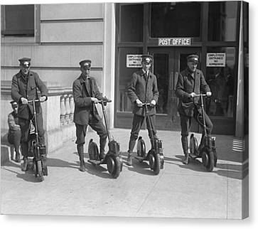 Mailmen On Scooters Canvas Print by Underwood Archives