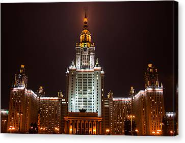 Main Building Of Moscow State University At Winter Evening - 2 Featured 3 Canvas Print