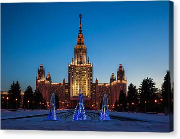 Main Building Of Moscow State University At Winter Evening - 3 Featured 2 Canvas Print