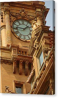 Main St Station Clock Tower Richmond Va Canvas Print by Suzanne Powers