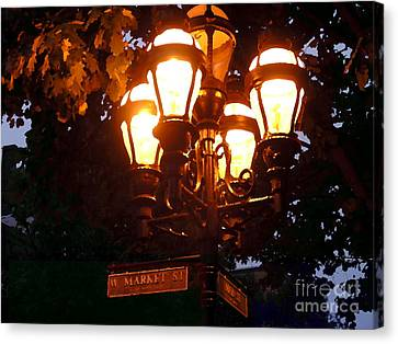 Main Street Gaslights - Abstract Canvas Print by Jacqueline M Lewis