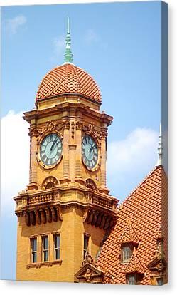 Main Street Station Clock Tower Richmond Va Canvas Print by Suzanne Powers