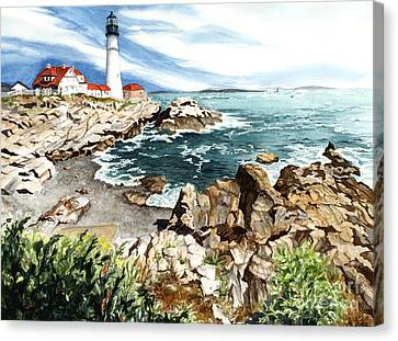 Maine Lighthouses Canvas Print - Maine Attraction by Barbara Jewell