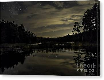 Maine Beaver Pond At Night Canvas Print