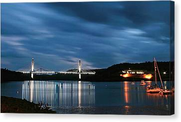 Canvas Print featuring the photograph Maine Bridge And Fort Knox  by Barbara West