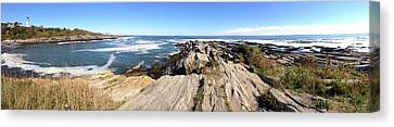 Maine Coast Lighthouse Panorama Canvas Print by Pat Exum