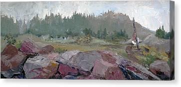 Maine Cove In Fog Canvas Print