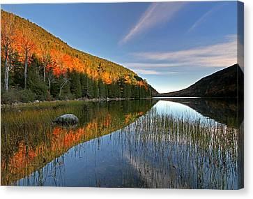 Maine Fall Foliage Glory At Bubble Pond  Canvas Print