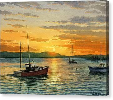 Maine Harbor Sunset Canvas Print by Paul Krapf