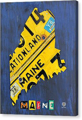 Maine License Plate Map Vintage Vacationland Motto Canvas Print