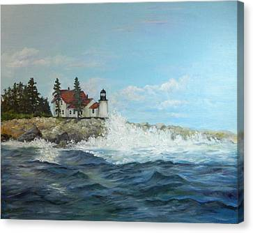 Canvas Print featuring the painting Maine Lighthouse by Sandra Nardone