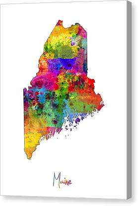 Maine Map Canvas Print