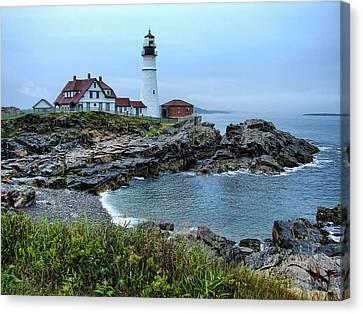 Maine Morning At Portland Head Light Canvas Print by Carolyn Fletcher