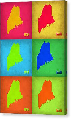 Maine Pop Art Map 1 Canvas Print by Naxart Studio