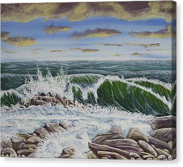 Crashing Waves At Pemaquid Point Maine Canvas Print by Keith Webber Jr