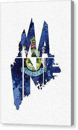 Maine Typographic Map Flag Canvas Print