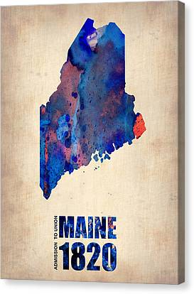 Maine Watercolor Map Canvas Print by Naxart Studio