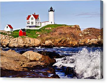 Canvas Print featuring the photograph Maine's Nubble Light by Mitchell R Grosky