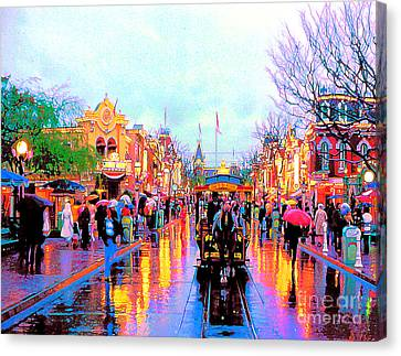 Canvas Print featuring the photograph Mainstreet Disneyland by David Lawson