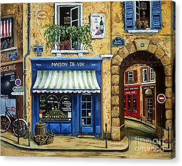 Wine Scene Canvas Print - Maison De Vin by Marilyn Dunlap