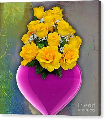 Majenta Heart Vase With Yellow Roses Canvas Print by Marvin Blaine