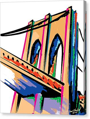 Majestic Brooklyn Bridge Canvas Print by Sam Shacked