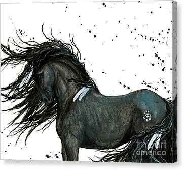 Majestic Friesian Horse 112 Canvas Print by AmyLyn Bihrle