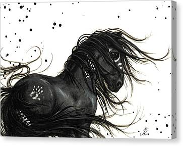Native American Spirit Portrait Canvas Print - Majestic Friesian Horse by AmyLyn Bihrle