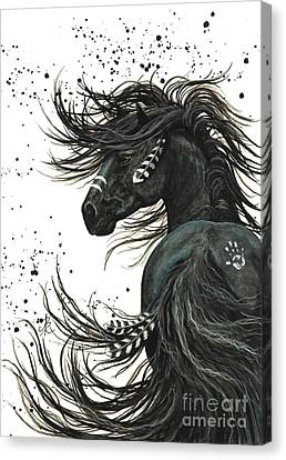 Native American Spirit Portrait Canvas Print - Majestic Spirit Horse 65 by AmyLyn Bihrle