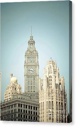Majestic Vintage Buildings Chicago Canvas Print by Linda Matlow