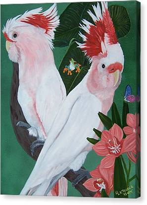 Major Mitchell Cockatoos Canvas Print by Debbie LaFrance