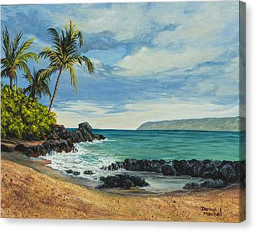 Canvas Print featuring the painting Makena Beach by Darice Machel McGuire