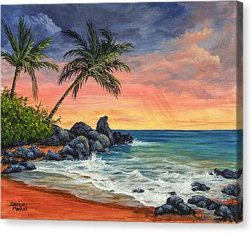 Canvas Print featuring the painting Makena Beach Sunset by Darice Machel McGuire