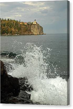 Canvas Print featuring the photograph Making A Splash At Split Rock Lighthouse  by James Peterson