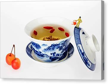 Making Longjing Tea Traditional Chinese Culture Miniature Art Canvas Print by Paul Ge