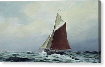 Making Sail After A Blow Canvas Print by Vic Trevett