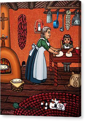 Pioneers Canvas Print - Making Tortillas by Victoria De Almeida