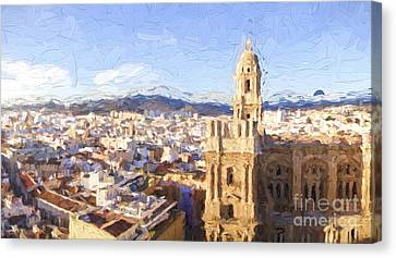 Malaga City With Cathedral Canvas Print by Perry Van Munster