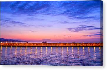 Malaga Pink And Blue Sunrise  Canvas Print by Debra Martz