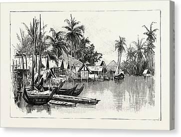 Malay Native Village On The East Coast Of Sumatra Canvas Print by Indonesian School