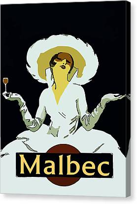 Malbec Vintage Wine Lady Canvas Print by Fig Street Studio